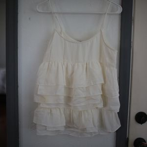 NWT White/Cream Who What Wear ruffled top
